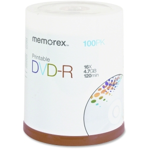 Memorex 05642 DVD Recordable Media - DVD-R - 16x - 4.70 GB - 100 Pack Spindle - 120mm2 Hour Maximum Recording Time