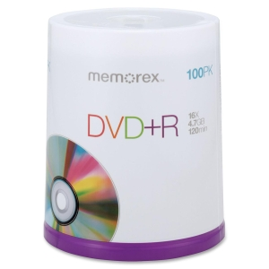Memorex DVD Recordable Media - 4.7GB - 120mm - 120Minute Maximum Recording Time - 100 Pack Spindle