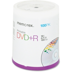 Memorex 16x DVD+R Media - 4.7GB - 120mm Standard - 100 Pack Spindle