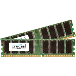 Crucial 2GB Kit (1GBx2), 184-Pin DIMM, DDR PC3200 Memory Module - 2 GB (2 x 1 GB) - DDR SDRAM - 400 MHz DDR400/PC3200 - Non-ECC - Unbuffered - 184-pin DIMM - Retail
