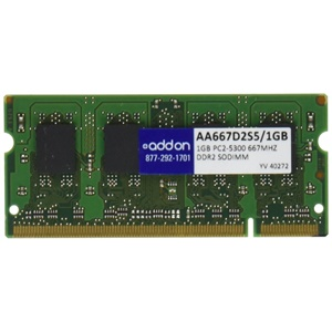 AddOn - Memory Upgrades 1GB DDR2-667MHz/PC2-5300 200-pin SODIMM F/LAPTOPS - 667MHz DDR2-667/PC2-5300 - 200-pin SoDIMM