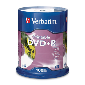 Verbatim DVD Recordable Media - DVD+R - 16x - 4.70 GB - 100 Pack Spindle - Retail - 120mm