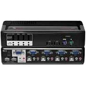 Avocent SwitchView Multimedia 4-Port KVM Switch - 4 x 1 - 2 x Type A USB, 1 x mini-DIN (PS/2) Keyboard, 1 x mini-DIN (PS/2) Mouse, 1 x HD-15 Video