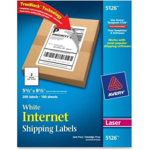 "Avery Shipping Label - 5.50"" Width x 8.50"" Length - 200 / Box - Rectangle - 2/Sheet - Laser - White"