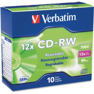 Verbatim 95156 CD Rewritable Media - CD-RW - 12x - 700 MB - 10 Pack Slim Case