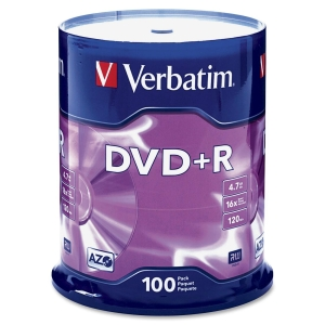Verbatim 95098 DVD Recordable Media - DVD+R - 16x - 4.70 GB - 100 Pack Spindle - 2 Hour Maximum Recording Time