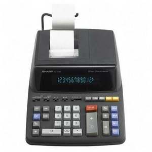 "Sharp Printing Calculator - 12 Character(s) - Fluorescent - Power Adapter Powered - 3.1"" x 8.9"" x 12.9"" - Black"