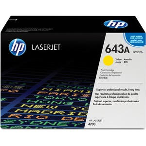HP 643A Yellow LaserJet Toner Cartridge (Q5952A) - Yellow - Laser - 10000 Page