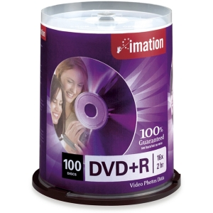 Imation DVD Recordable Media - DVD+R - 16x - 4.70 GB - 100 Pack Spindle - 120mm4 Hour Maximum Recording Time