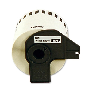 "Brother P-Touch DK4605 Removable Paper Tape - 2.44"" Width x 100 ft Length - 1 Roll - Direct Thermal - Yellow"