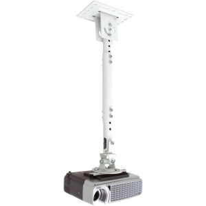 Telehook TH-WH-PJ-CM Universal Projector Ceiling Adjustable Pole Mount - Steel - 33 lb - White