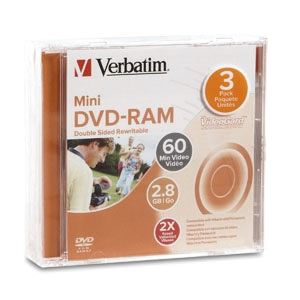 Verbatim 2x DVD-RAM Double Sided Media - 2.8GB - 3 Pack