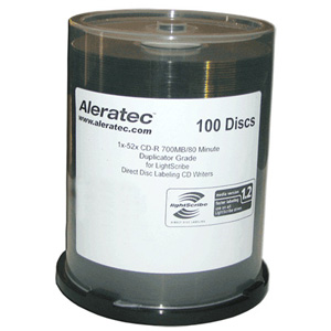 Aleratec LightScribe 52x CD-R Media - 700MB - 100 Pack Cake Box