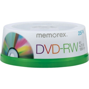 Memorex 4x DVD-RW Media - 4.7GB - 25 Pack