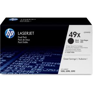 HP 49XD Dual Pack Black Toner Cartridge - Black - Laser - 6000 Page - 2 / Box