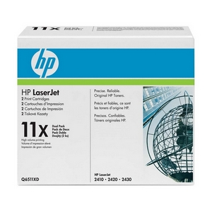 HP 11X Dual Pack Black Toner Cartridge - Black - Laser - 12000 Page - 2 / Box