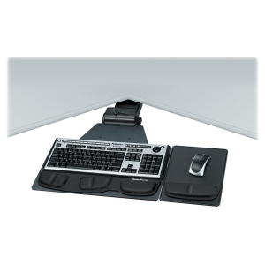 "Fellowes Professional Series Corner Executive Keyboard Tray - 5.8"" x 28.2"" x 21.3"" - Black"
