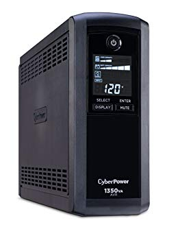 CyberPower Intelligent LCD CP1350AVRLCD 1350 VA Tower UPS - 1350VA/810W - 2 Minute Full Load - 4 x NEMA 5-15R - Battery/Surge-protected, 4 x NEMA 5-15R - Surge-protected
