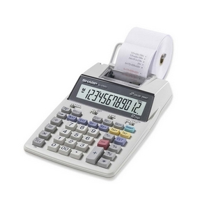 Sharp Printing Calculator - 2 Line(s) - 12 Character(s) - LCD - Battery, Power Adapter Powered - White