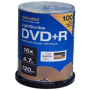 Aleratec Lightscribe 16x DVD+R Media - 4.7GB - 100 Pack Spindle
