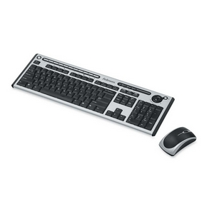 Fellowes Microban Slimline Cordless Combo - USB Wireless RF Keyboard - 104 Key - Silver, Black - USB Wireless RF Mouse - Optical - 600 dpi - 3 Button - Scroll Wheel - Silver, Black