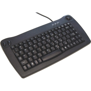 Solidtek Mini Keyboard 88 Keys with Trackball Mouse KB-5010BP - PS/2 - 88 Key - Trackball - QWERTY