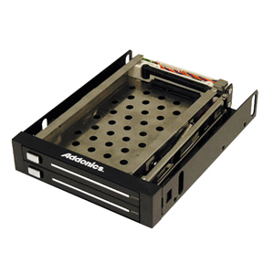 """Addonics AE25SNAP2SA Snap-In Double 2.5"""" Drive Mobile Rack - Storage Enclosure - 2 x 2.5"""" -  Front Accessible Hot-swappable"""