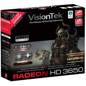 Visiontek Radeon HD 3650 Graphics Card - ATi Radeon HD 3650 - 512MB GDDR2 SDRAM 128bit - PCI Express 2.0 x16 - DVI-I - Retail