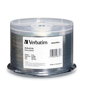 Verbatim 2.4x DVD+R Double Layer Media - 8.5GB - 120mm Standard - 50 Pack Spindle