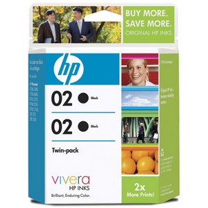 HP 02 Twinpack Black Ink Cartridge - Black - Inkjet - 480 Page - 1 Pack