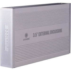 "Coolmax HD-389-U2 Hard Drive Enclosure - 1 x 3.5"" - 1/3H Internal - Serial ATA, USB - External - Silver"