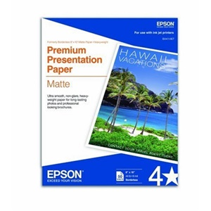 "Epson Very High Resolution Print Paper - 8"" x 10"" - 167g/m² - Matte - 50 Sheet - White"