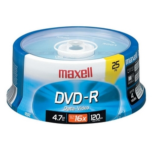 Maxell 16x DVD-R Media - 4.7GB - 25 Pack