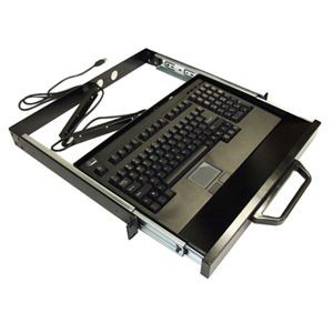 Adesso ACK-730PB-MRP 1U Rackmount Keyboard with Touchpad - USB - QWERTY - 104 Keys - Black