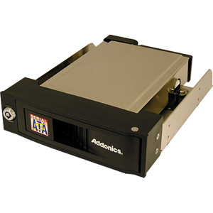 "Addonics AESNAPMRSA Snap-In SATA Mobile Rack - 1 x 3.5"" - 1/3H Front Accessible Hot-swappable - Serial ATA - Internal - Black"