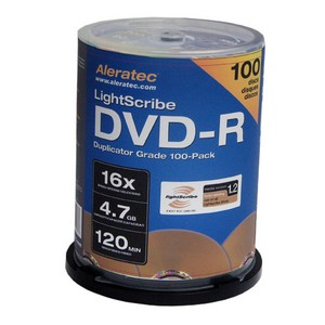 Aleratec LightScribe 16x DVD-R Media - 4.7GB - 100 Pack Cake Box