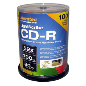 Aleratec LightScribe 52x CD-R Media - 700MB - 100 Pack Spindle