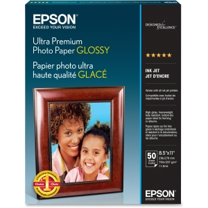 Epson Ultra Premium Photo Paper - Letter - 8.50&quot; x 11&quot; - Glossy - Bright White