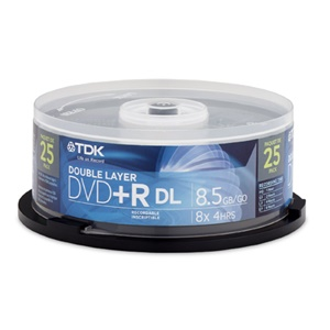 TDK 8x DVD+R Double Layer Media - 8.5GB - 120mm Standard - 25 Pack Spindle