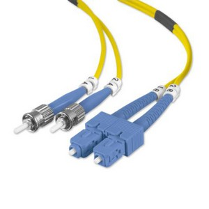 Belkin Fiber Optic Duplex Patch Cable - ST Male - SC Male - 98.43ft - Yellow
