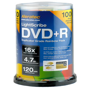 Aleratec LightScribe 16x DVD+R Media - 4.7GB - 120mm Standard - 100 Pack Spindle