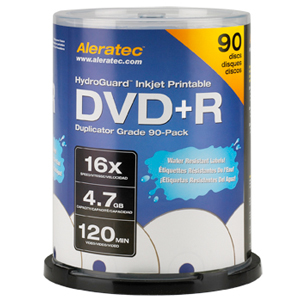 Aleratec 16x DVD+R Media - 4.7GB - 120mm Standard - 90 Pack Spindle