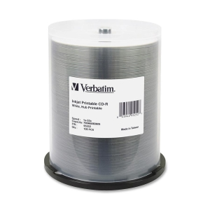 Verbatim 52x 80 Minute CD-R 700MB 100 Disc Spindle, Inkjet and Hub Printable Recordable Disc