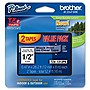 Brother TZ Label Tape Cartridge - Black, Clear - 2/Pack