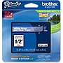 "Brother 12mm (0.47"") White on Clear Tape for P-Touch, 8m (26.2 ft)"