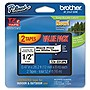 "Brother TZ Label Tape Cartridge - 0.50"" Width x 26.20 ft Length - 2 Pack"