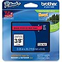 "Brother Black on Red Label Tape - 0.35"" Width x 26.20 ft Length - Thermal Transfer - Red"