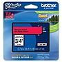 "Brother 18mm (0.7"") Black on Red Tape for P-Touch, 8m (26.2 ft)"