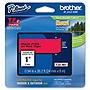 "Brother Black on Red Label Tape - 0.94"" Width x 26.20 ft Length - Thermal Transfer - Red"