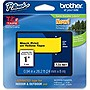 "Brother 24mm (0.94"") Black on Yellow Tape for P-Touch, 8m (26.2 ft)"